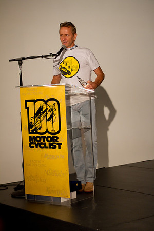 Kevin Schwantz accepting the Motorcyclist of the year award for Marco Simoncelli.